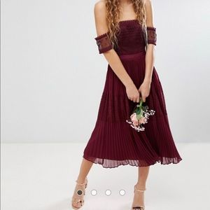 ASOS premium guipure lace paneled midi dress